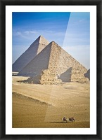 The Pyramids With Two Men On Camels Going By; Cairo,Egypt,Africa Picture Frame print