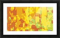 graffiti drawing abstract pattern in yellow brown and blue Picture Frame print