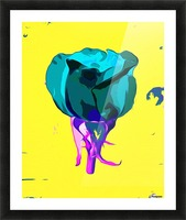 green rose with purple stem and yellow background Picture Frame print