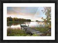 A Dock On A Lake At Sunrise Near Wawa; Ontario, Canada Picture Frame print