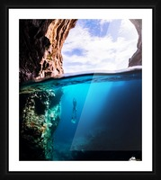 Cave diving vert Picture Frame print