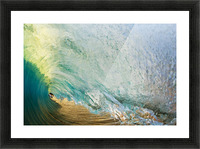 Hawaii, Maui, Makena Beach, View Of Distant Surfers Through Barrel Of Turquoise Wave, Sunset Light. Picture Frame print