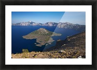 West rim view of Crater Lake overlooking Wizard Island Picture Frame print