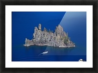 Phantom Ship and tourist boat, Crater Lake National Park    Picture Frame print