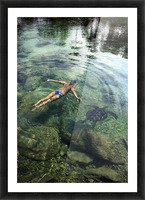 Hawaii, Oahu, Man And Hawaiian Sea Turtle Swimming Side By Side In The Ocean Reef, View From Above. Picture Frame print