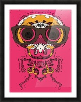 funny skull and bone graffiti drawing in orange brown and pink Picture Frame print