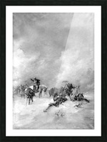 A pack of hunters in winter Picture Frame print