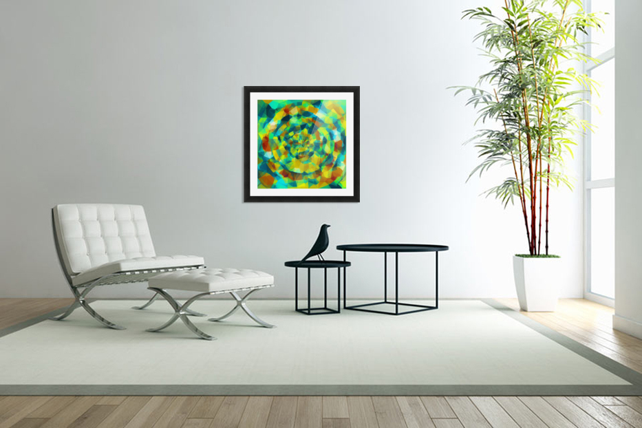 psychedelic geometric polygon pattern abstract in blue yellow green brown in Custom Picture Frame