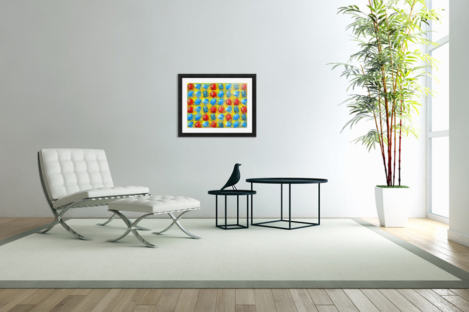 geometric polygon abstract pattern yellow blue red in Custom Picture Frame