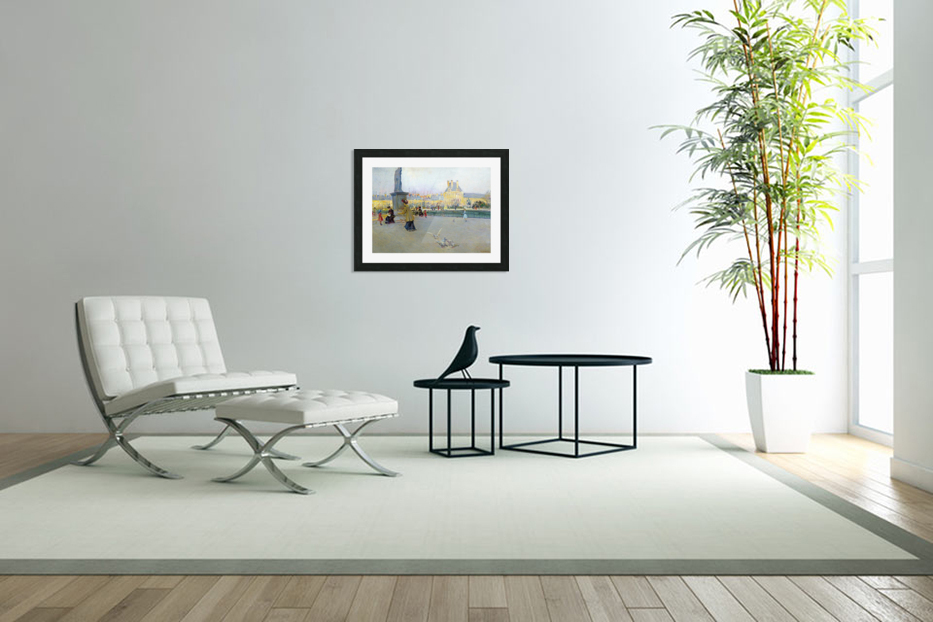City view with figures and birds in Paris in Custom Picture Frame