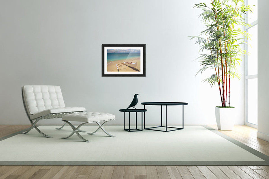 White Outrigger Canoe On Shoreline With Shadow, Calm Turquoise Water in Custom Picture Frame