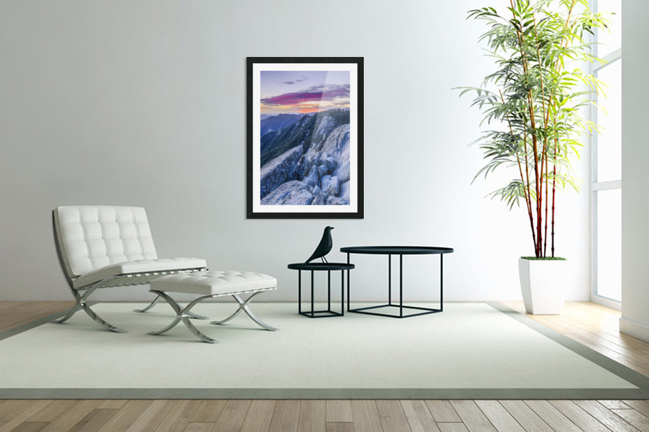 View from Moro Rock at dusk, Sequoia National Park; California, United States of America in Custom Picture Frame