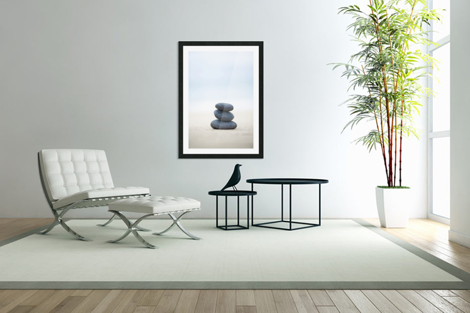Stack Of Stones On Sand, Selective Focus. in Custom Picture Frame