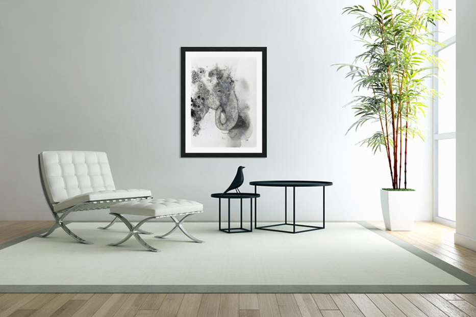 Illustration of an elephant's head in Custom Picture Frame
