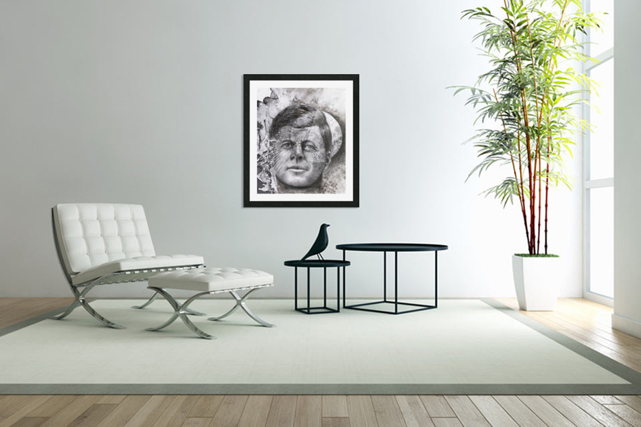 Black and white illustration of a man's face with a full moon overlapping his face in Custom Picture Frame