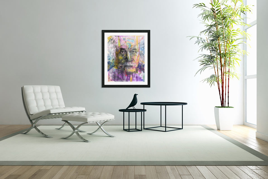 Illustration of a man's face with colourful abstract patterns surrounding it in Custom Picture Frame