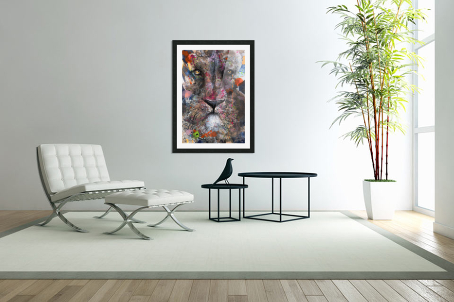 Illustration of a lion's face with colourful splashes in Custom Picture Frame