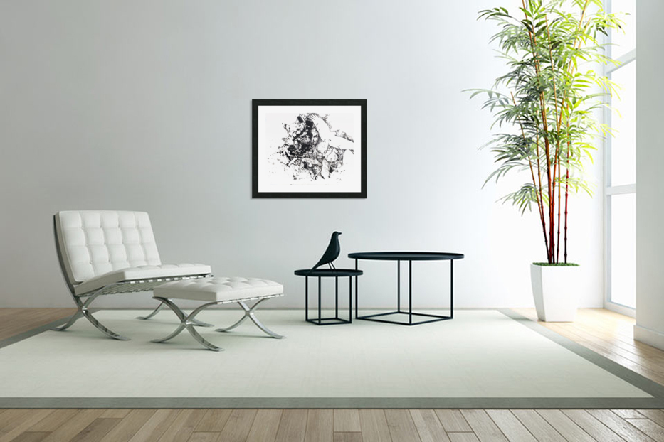 Black and white illustration of birds and human faces in Custom Picture Frame