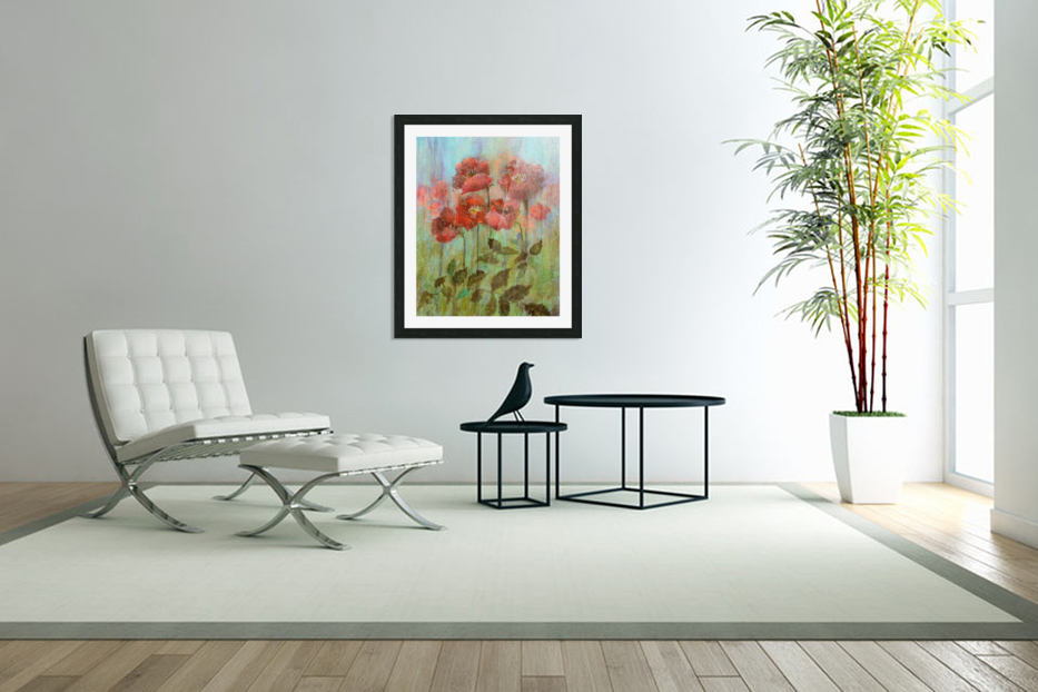 Poppies In Pastel Red in Custom Picture Frame