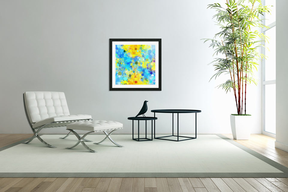 psychedelic geometric circle pattern and square pattern abstract in yellow and blue in Custom Picture Frame