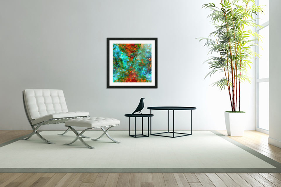 psychedelic geometric abstract pattern in green blue orange in Custom Picture Frame