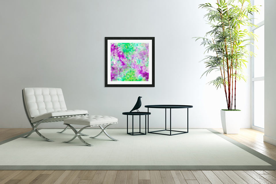 psychedelic geometric triangle abstract pattern in purple and green in Custom Picture Frame