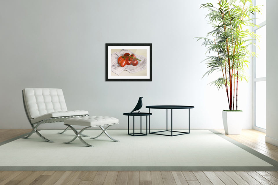 Tomatoes on a Striped Cloth  in Custom Picture Frame