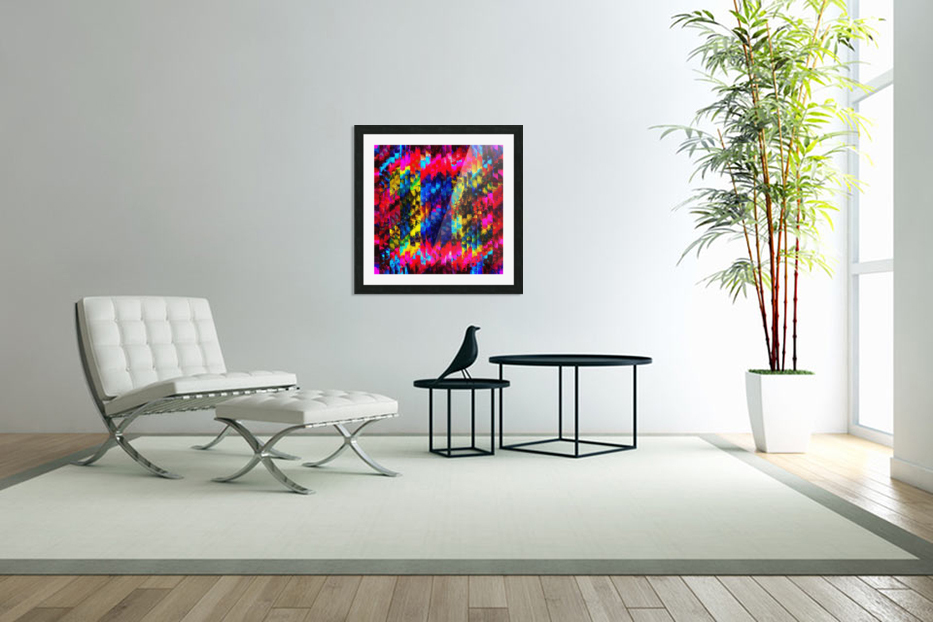 psychedelic geometric painting abstract pattern in red pink blue yellow in Custom Picture Frame