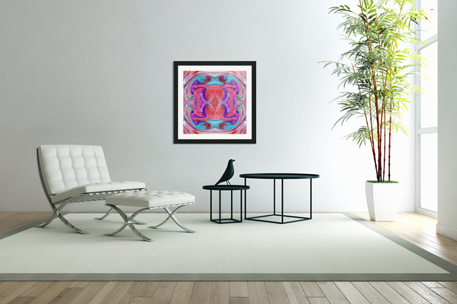 psychedelic geometric symmetry abstract pattern in red pink blue in Custom Picture Frame