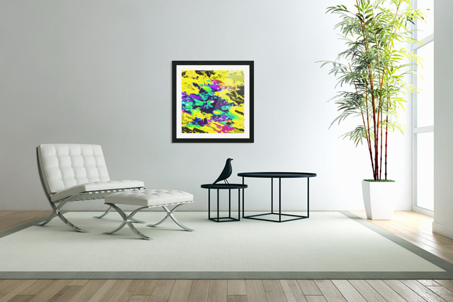 psychedelic splash painting abstract texture in yellow blue green purple in Custom Picture Frame