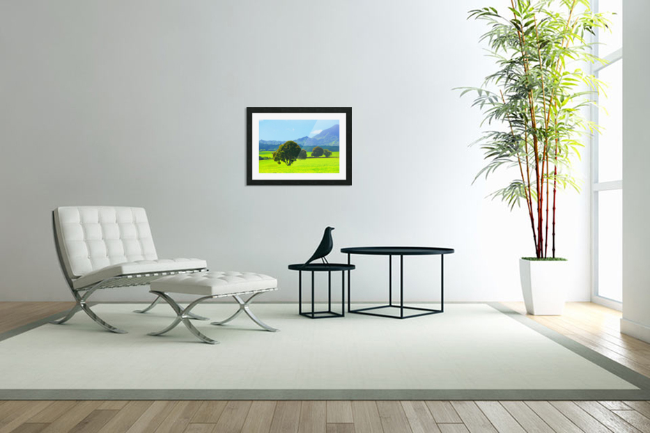 green tree in the green field with green mountain and blue sky background in Custom Picture Frame