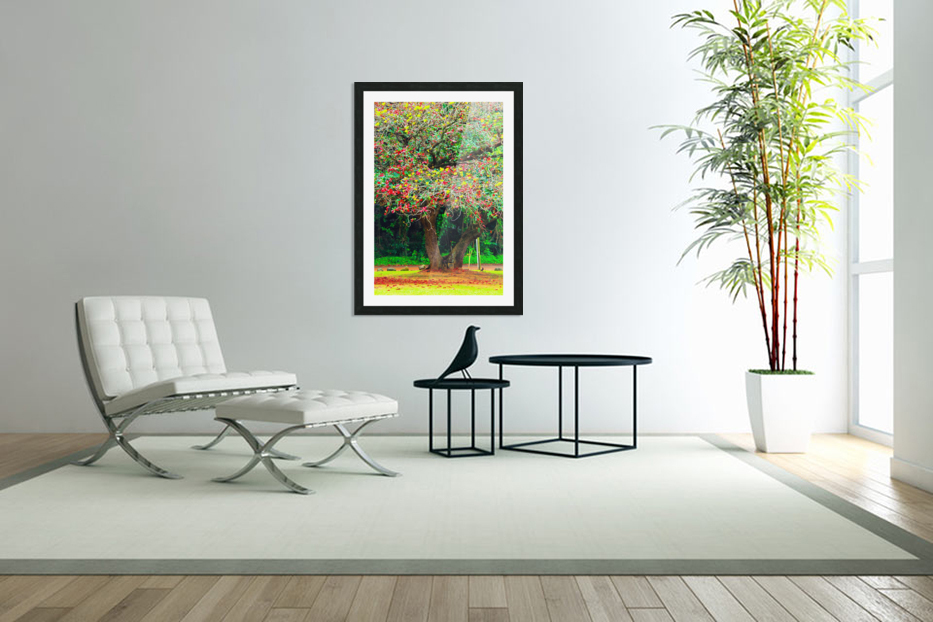 big tree with green yellow and red leaves in Custom Picture Frame