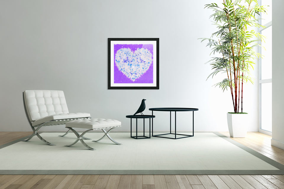 blue and white heart shape with purple background in Custom Picture Frame