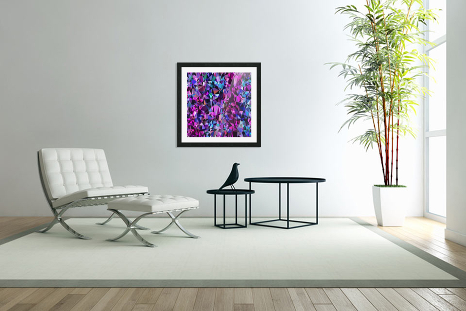 geometric triangle polygon pattern abstract in pink blue black in Custom Picture Frame