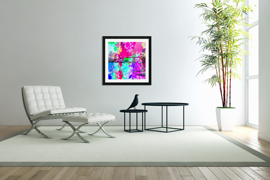 Golden Gate bridge, San Francisco, USA with pink blue green purple painting abstract background in Custom Picture Frame