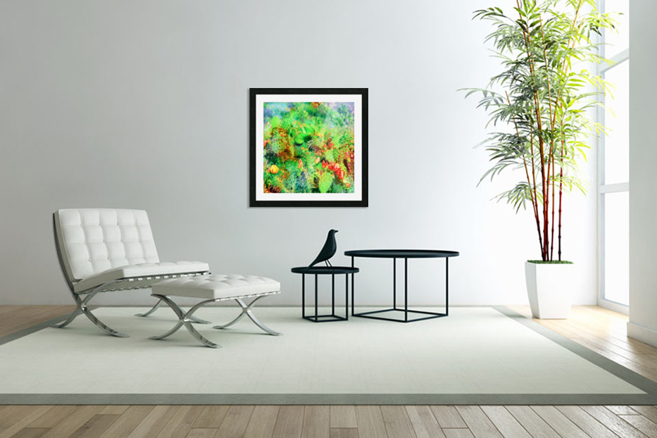 green cactus with yellow and red flower in the desert in Custom Picture Frame