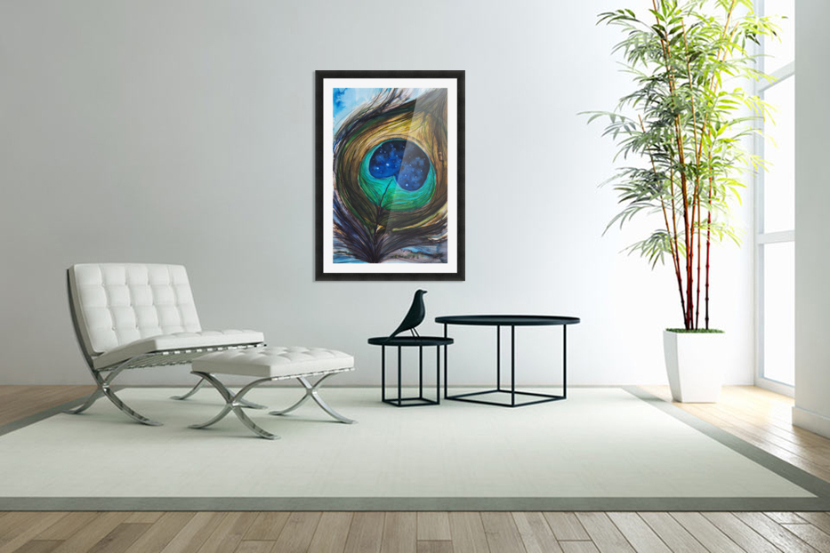 Artwork showing the detail of a colourful bird feather in Custom Picture Frame