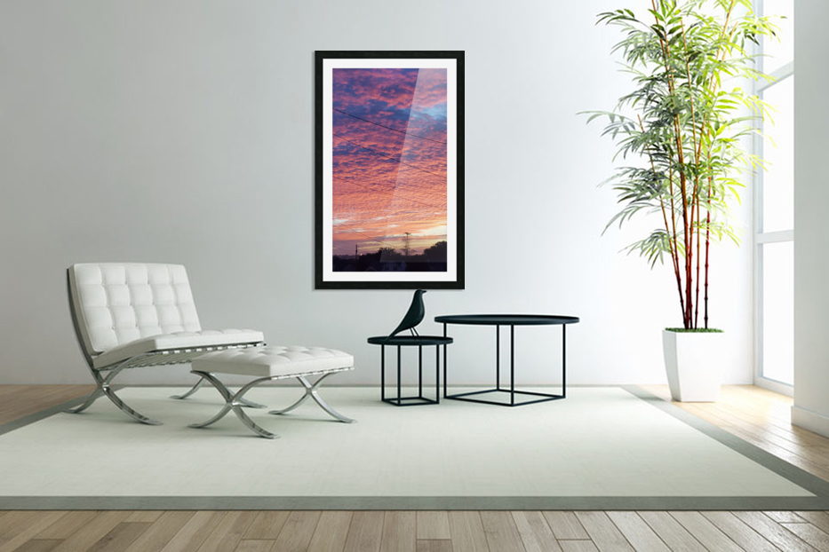 Red Sky Over Wires in Custom Picture Frame