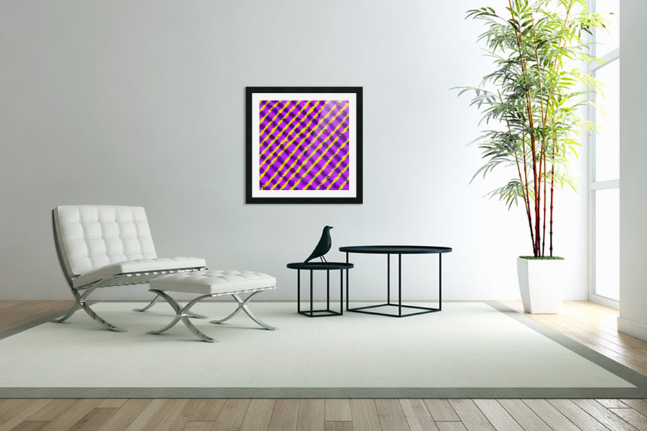 line pattern painting abstract background in purple and yellow in Custom Picture Frame