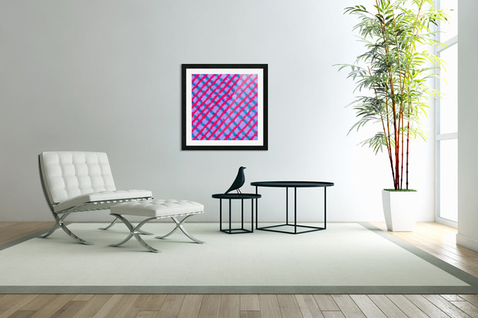 line pattern painting abstract background in red purple blue in Custom Picture Frame