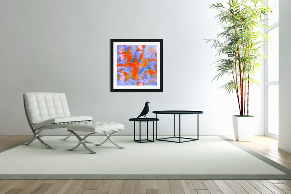 splash painting texture abstract background in red blue orange in Custom Picture Frame