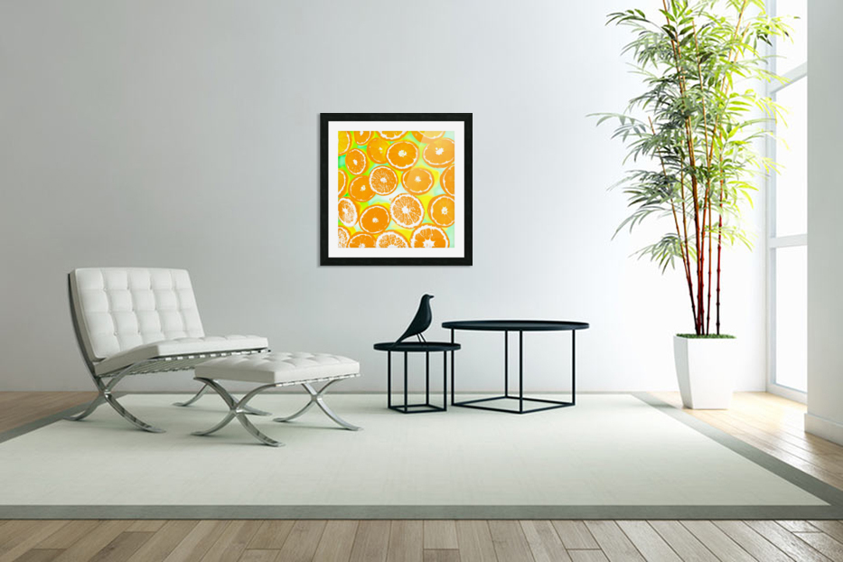 juicy orange pattern abstract with yellow and green background in Custom Picture Frame