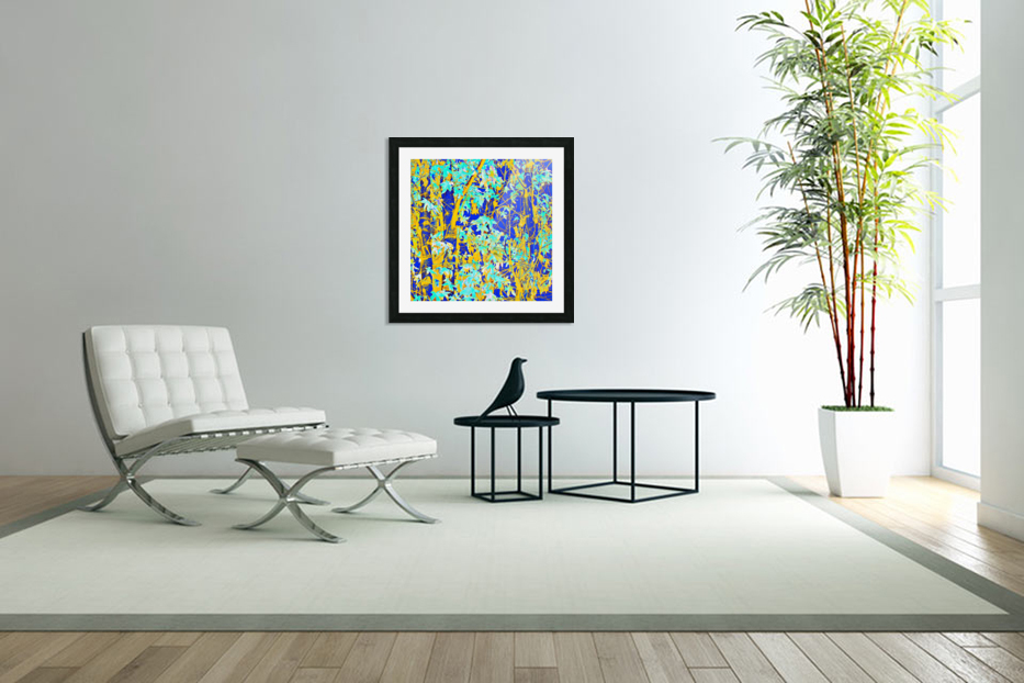 green maple tree leaf with blue and yellow abstract background in Custom Picture Frame