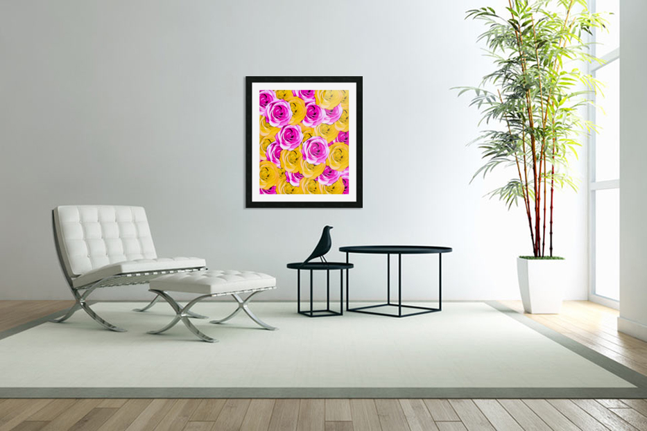 pink rose and yellow rose pattern abstract background in Custom Picture Frame