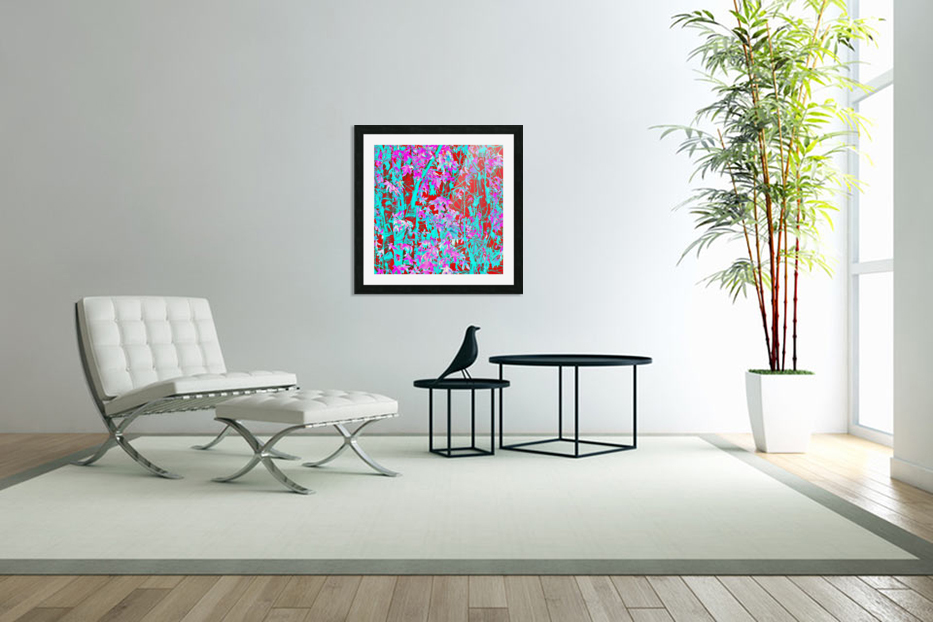 pink maple tree leaf with blue and red abstract background in Custom Picture Frame