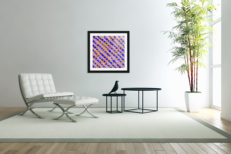 geometric pixel square pattern abstract background in orange blue purple in Custom Picture Frame