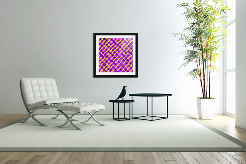geometric pixel square pattern abstract background in pink purple yellow in Custom Picture Frame
