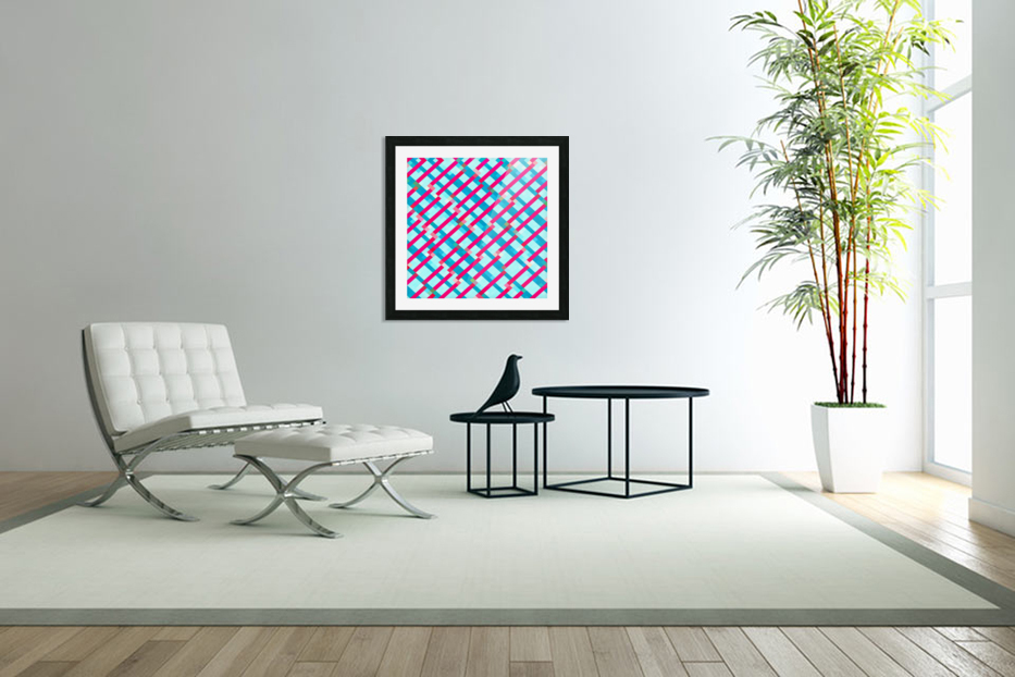 geometric pixel square pattern abstract background in blue pink in Custom Picture Frame