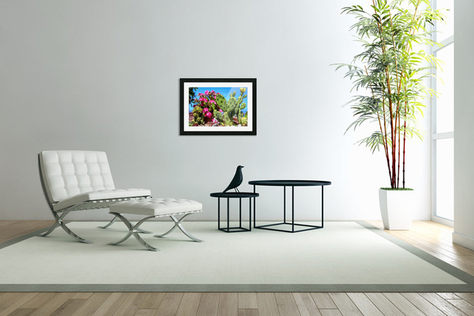 Cactus and colourful Flowers in Custom Picture Frame