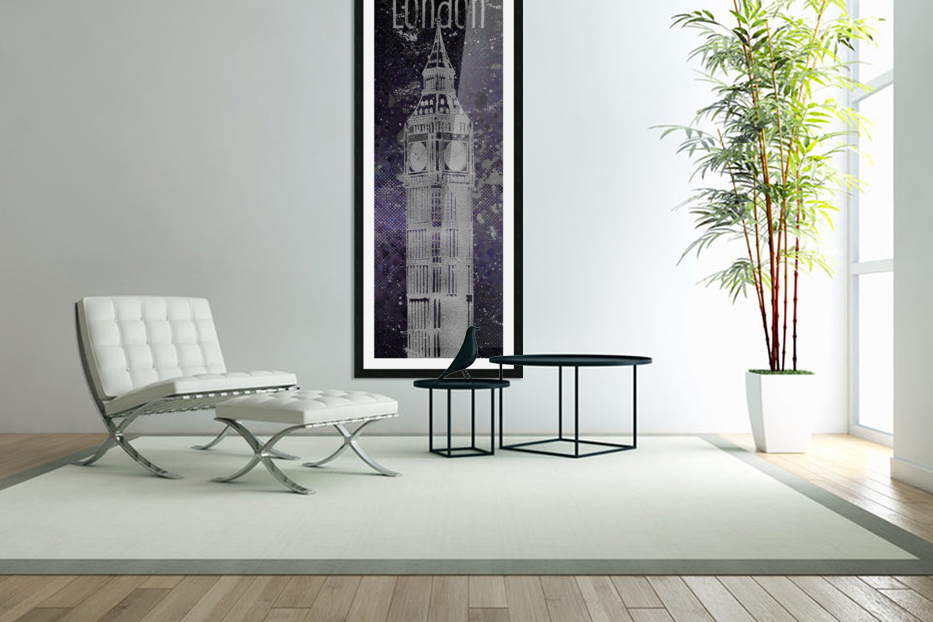 Graphic Art LONDON Big Ben| ultraviolet & silver in Custom Picture Frame